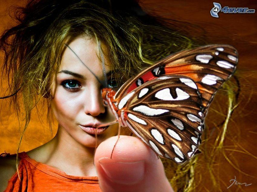 fjäril, finger, kvinna