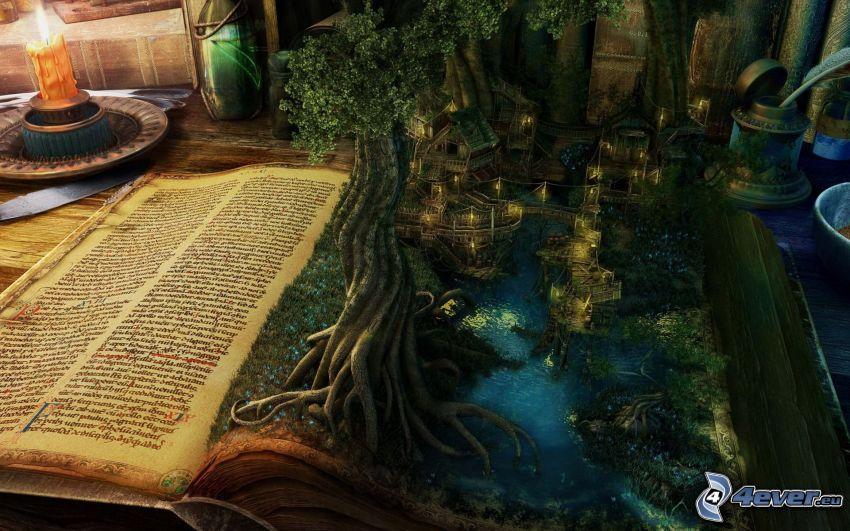 landskap, träd, hus, bok