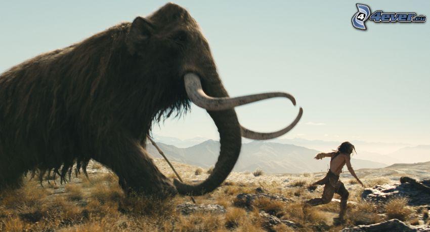 mammut, människa, springa