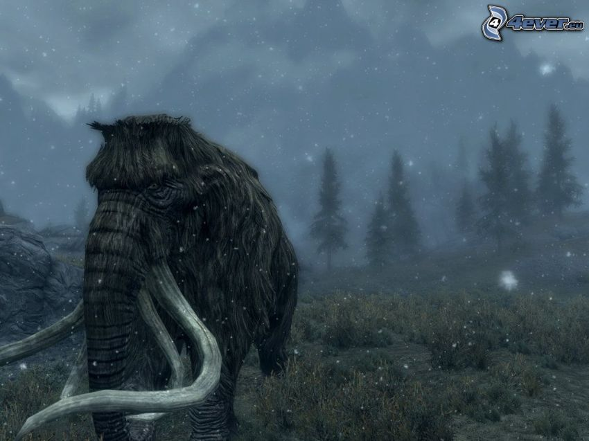 mammut, snö, skog