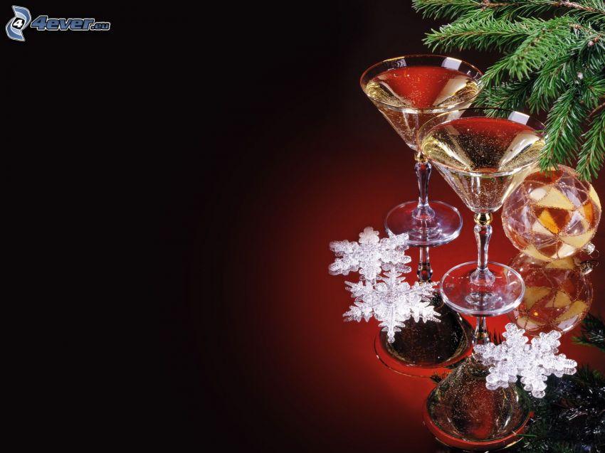champagne, snöflingor