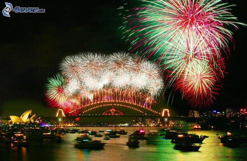 fyrverkerier över Sydney, nyår, Sydney Harbour Bridge