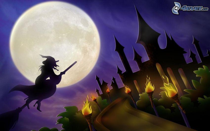 Halloween, häxa, häxa på kvast, slott, måne