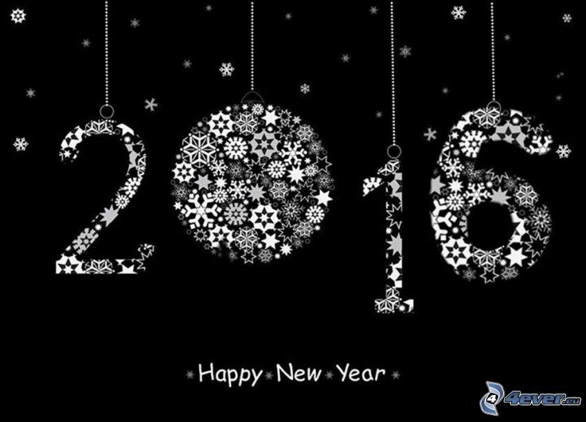 happy new year, 2016, snöflingor, svart och vitt