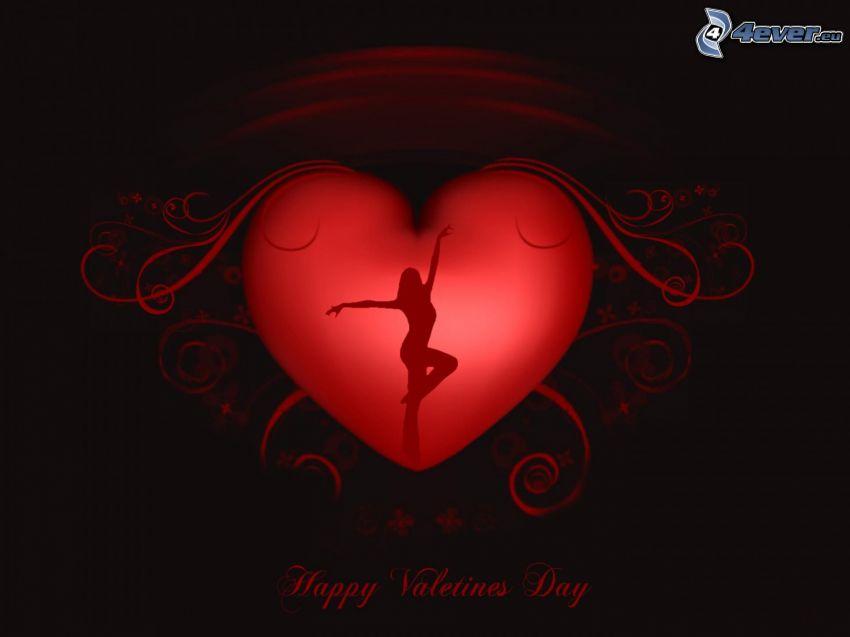 Happy Valentines Day, rött hjärta, silhuett av kvinna