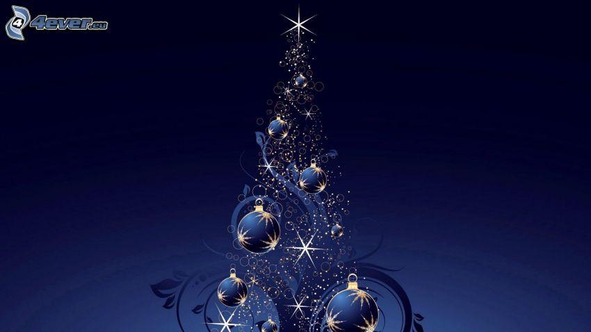 julgran, blå bakgrund