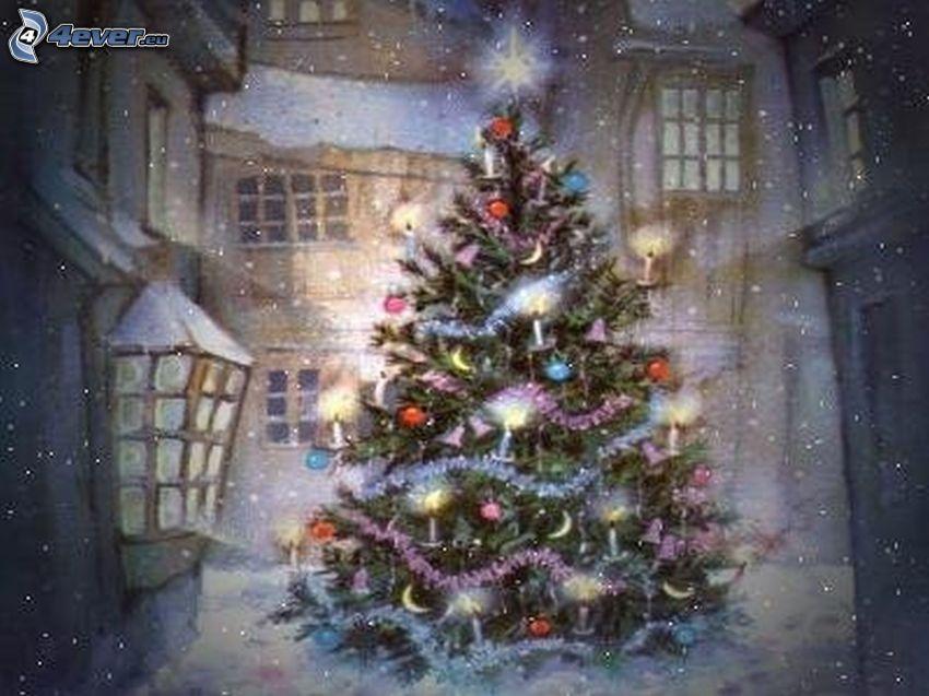 julgran, snö, vinter, Thomas Kinkade