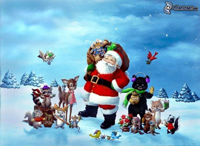 Jultomten, djur, vinter, himmel