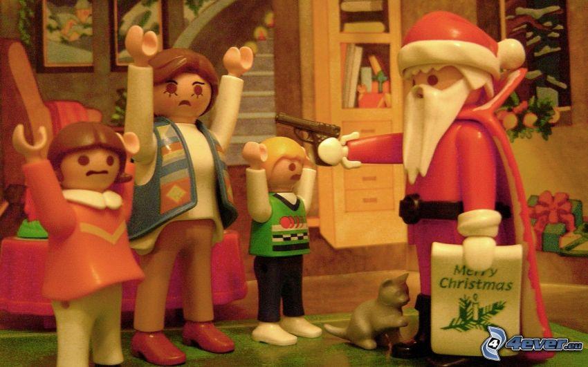 Jultomten, figurer, angrepp