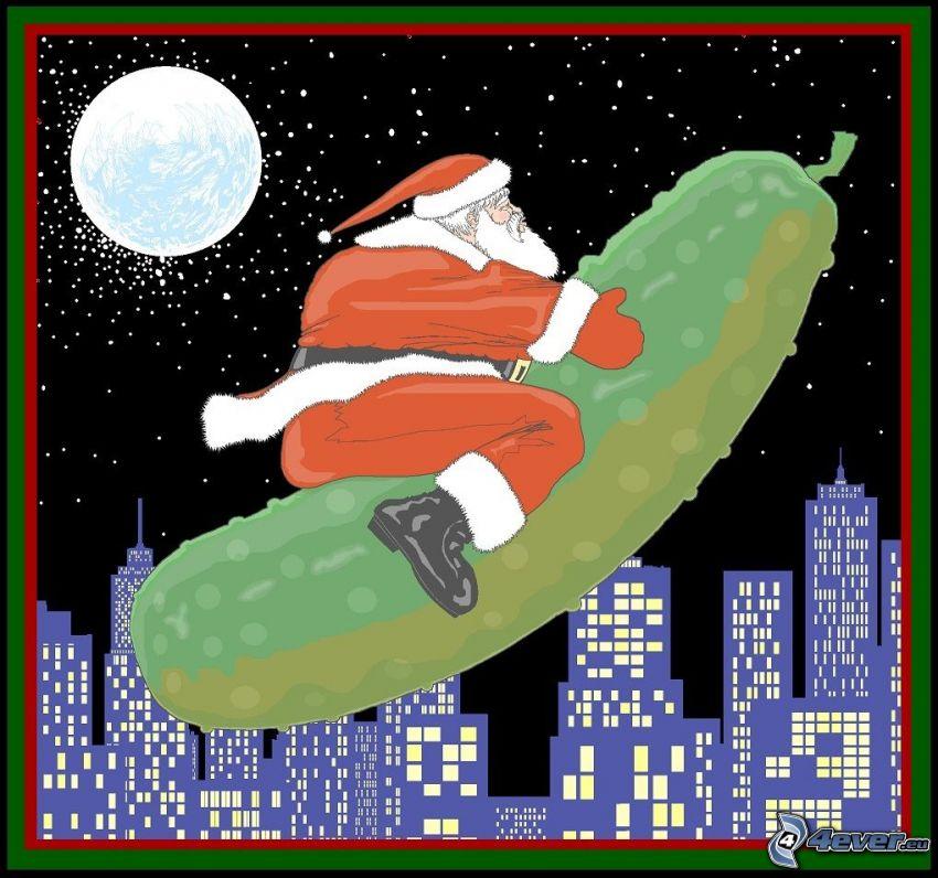 Jultomten, gurka, måne, stad