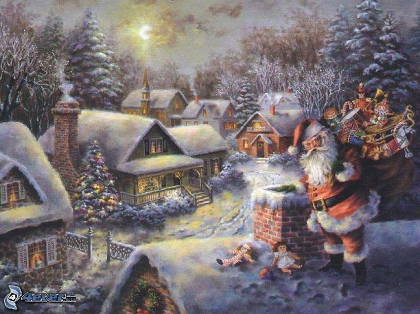 Jultomten, skorsten, snöig by, gåvor, Thomas Kinkade
