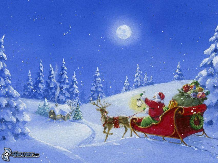 Jultomten, släde, ren, gåvor, snöigt landskap, måne, tecknat