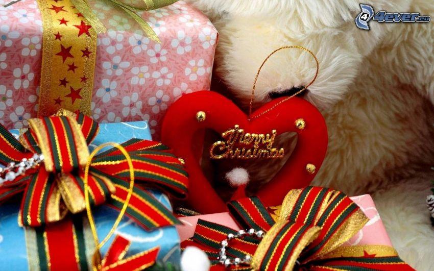 Merry Christmas, gåvor, hjärta