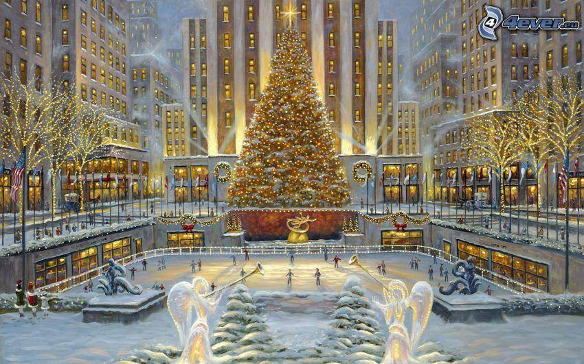 Rockefeller square, snötäckt torg, juldekorationer, julgran, skridskobana, tecknat