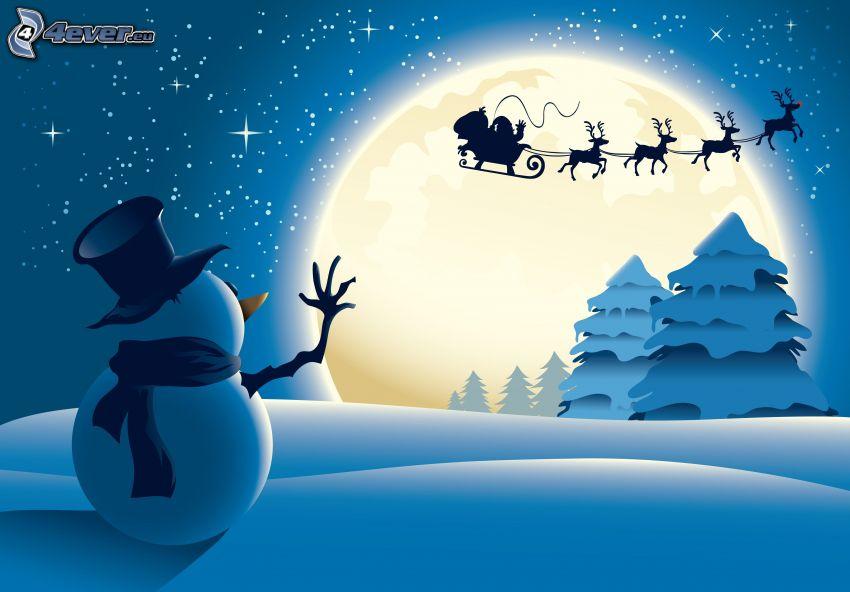 snögubbe, Santa Claus, renar, snöklädda träd, hälsning, måne