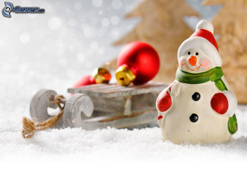 snögubbe, släde, julgranskulor, snö