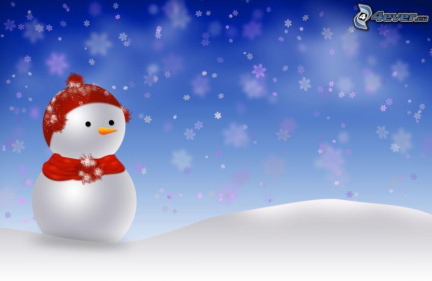 snögubbe, snö, snöflingor, tecknat