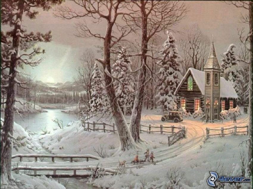 snöigt landskap, kyrka, snöklädda träd, tecknat, Thomas Kinkade