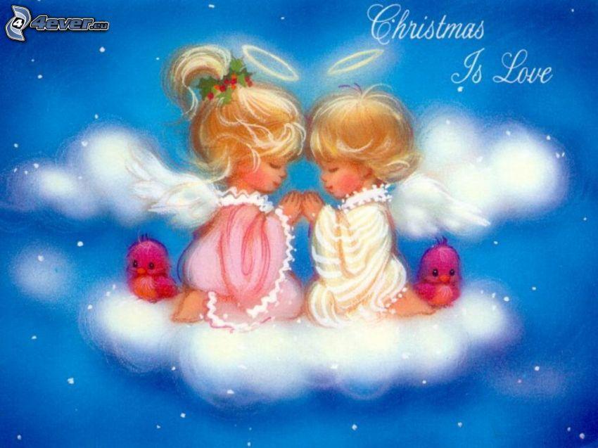tecknade barn, änglar, jul, kärlek, himmel