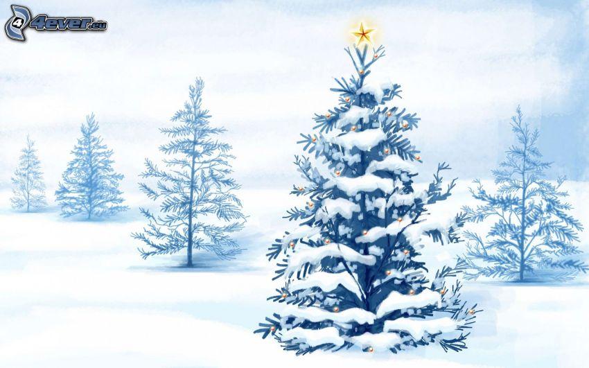 upplyst träd, snö