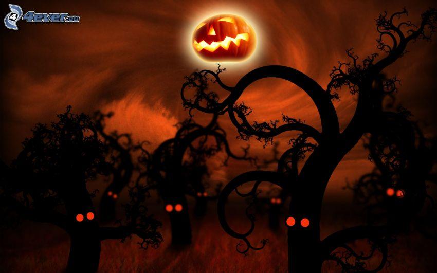 kusligt träd, halloween pumpa