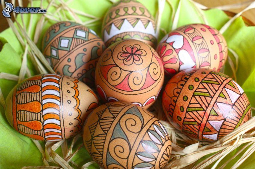 målade ägg, påskägg