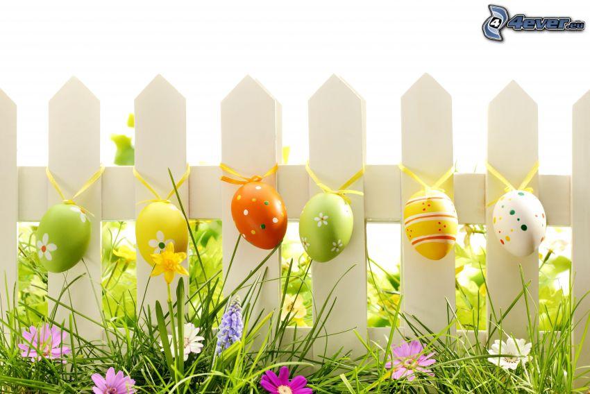 staket, målade ägg, påskägg, gräs
