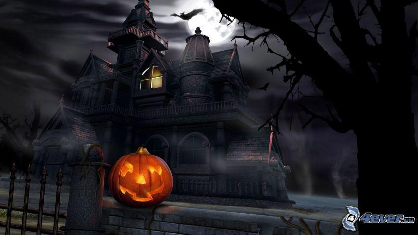 spökhus, halloween pumpa, natt, fladdermus, måne