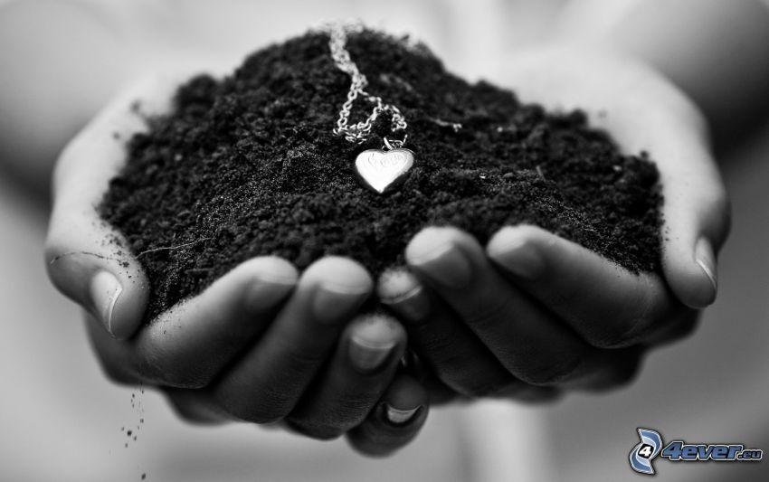 armband, jord, hjärta, händer