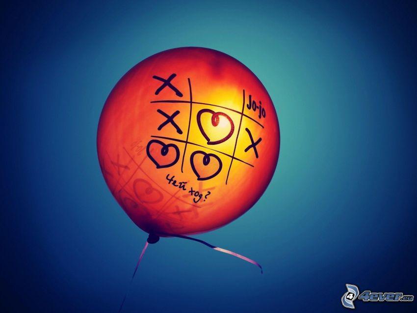 ballong, tre-i-rad, hjärtan