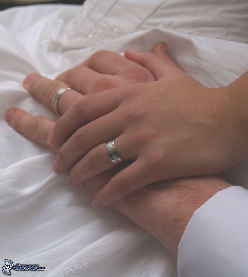 bröllop, ringar, händer