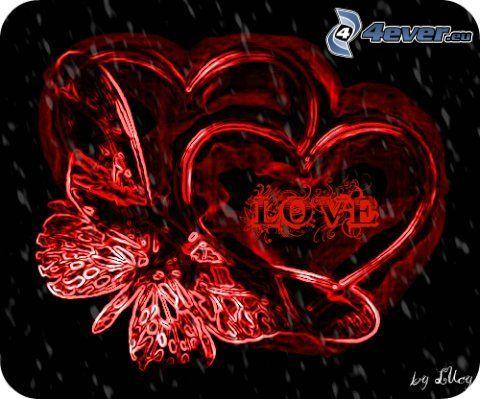 fjäril, hjärtan, love