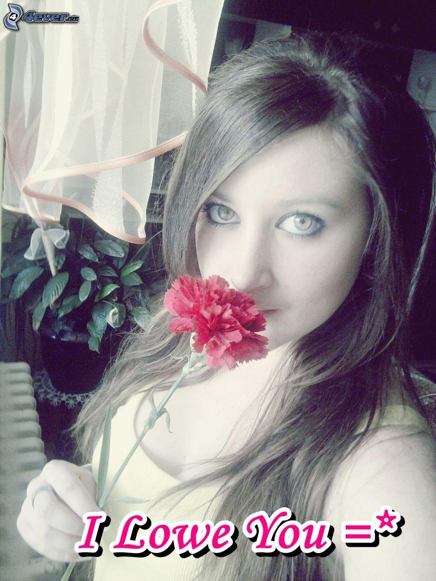 flicka med blomma, I love you
