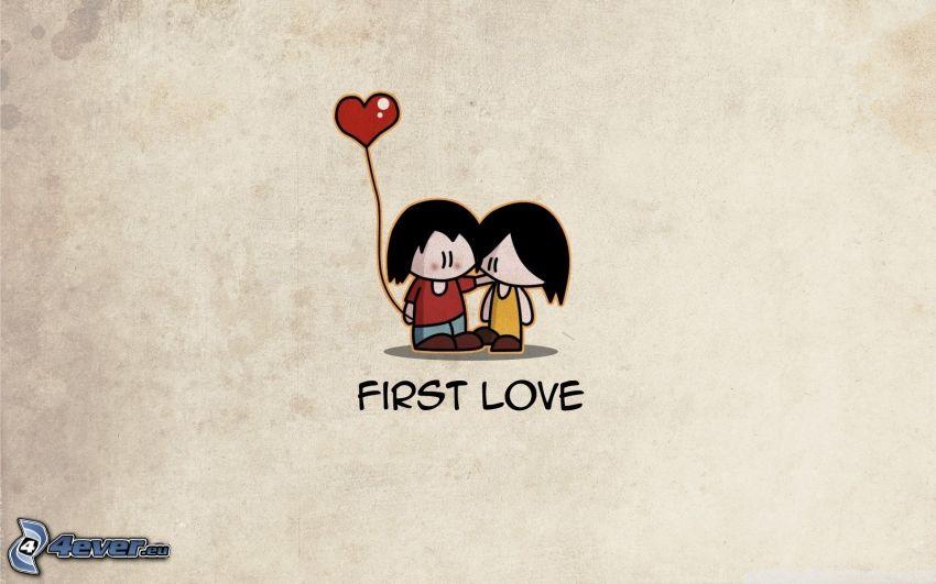 första kärleken, tecknat par, ballong, hjärta