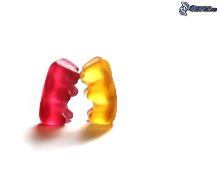 gelébjörnar, kram, kärlek