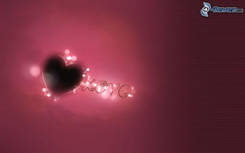 hjärta, love, lila bakgrund