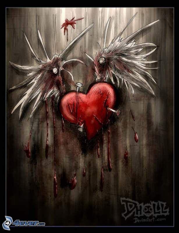 blödande hjärta, hjärta med vingar, spikar