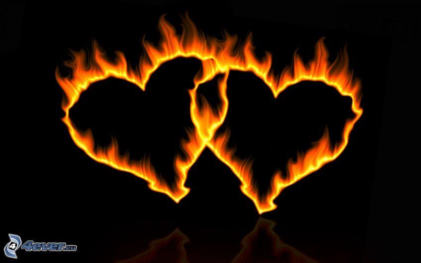 brinnande hjärtan