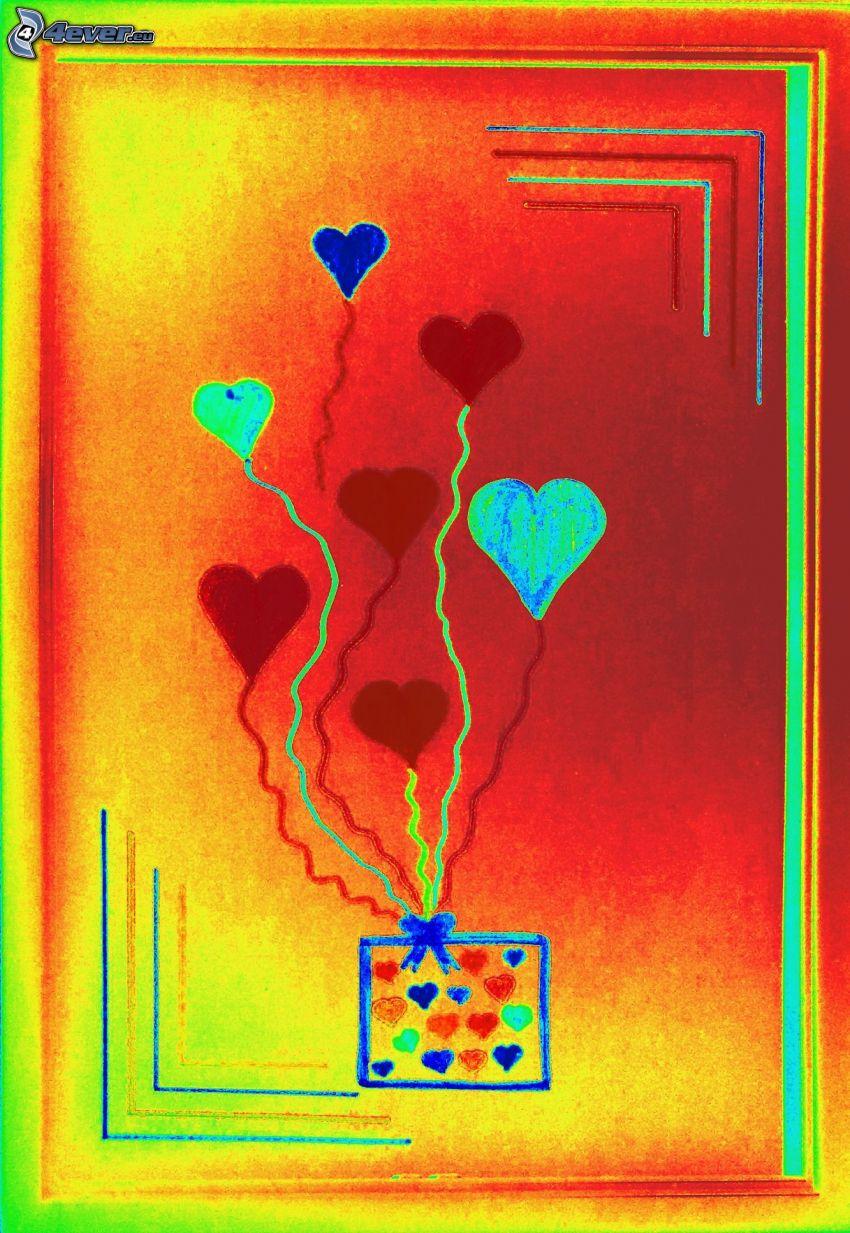 färgglada hjärtan, ballonger, teckning
