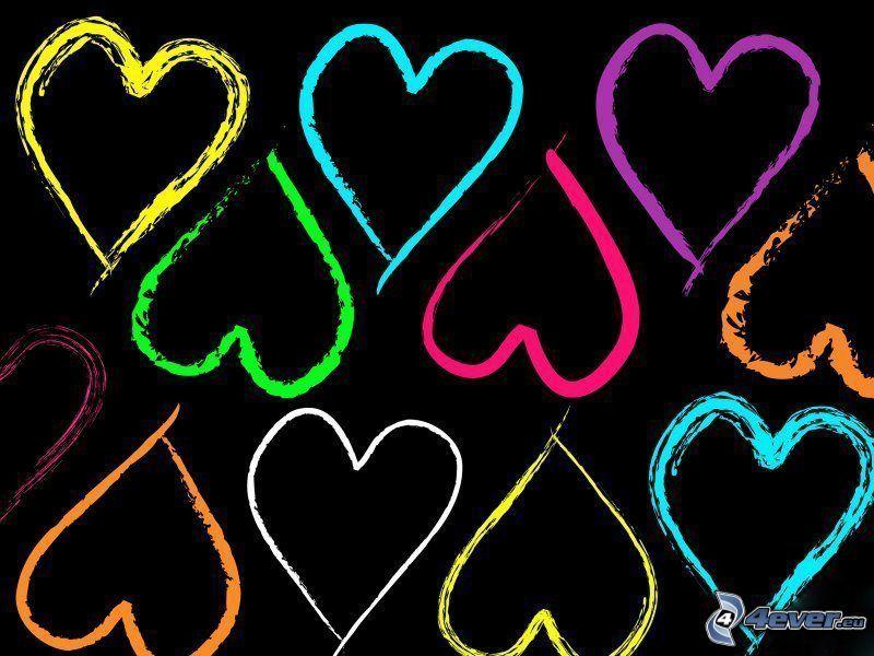 färgglada hjärtan, tecknat