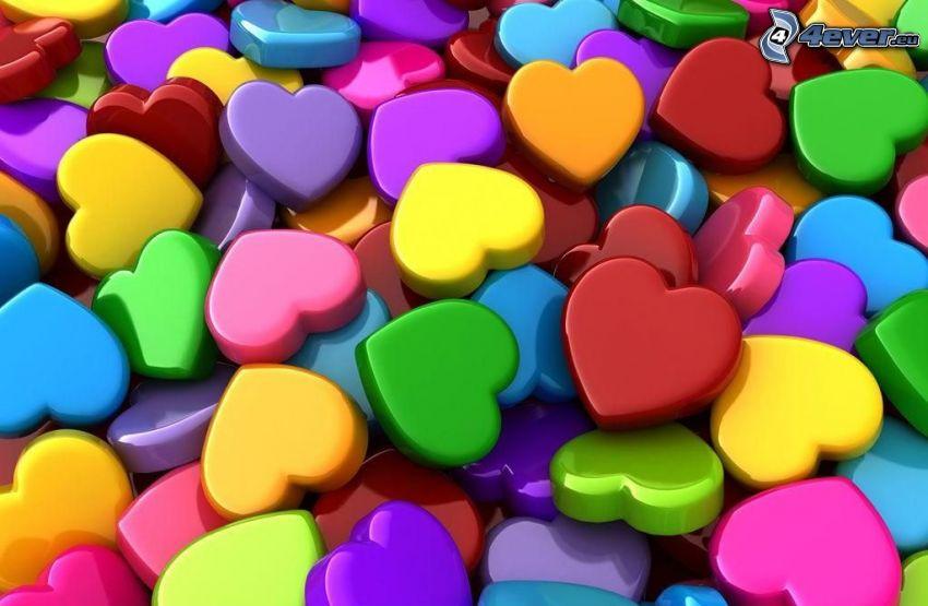 färgglada hjärtan