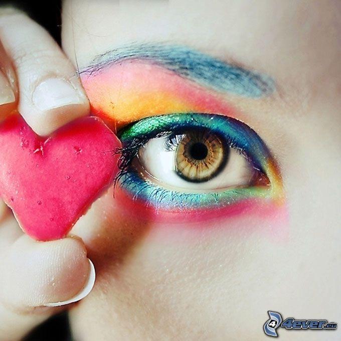 färggrannt öga, hjärta