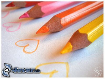 färgpennor, hjärtan