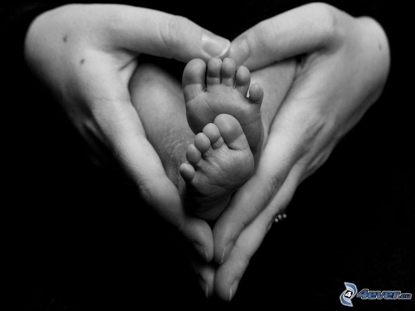 fötter, händer, kärlek, hjärta