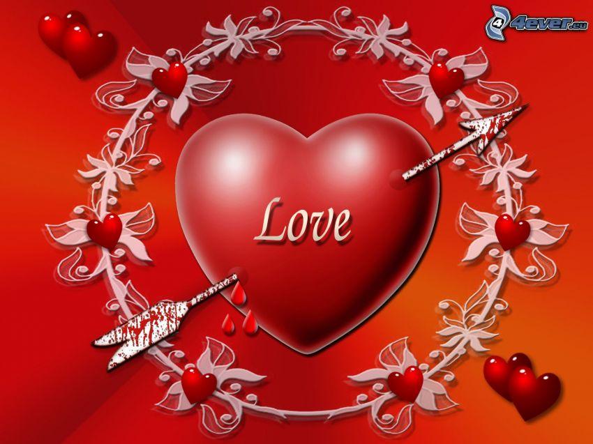 genomborrat hjärta, love, pil