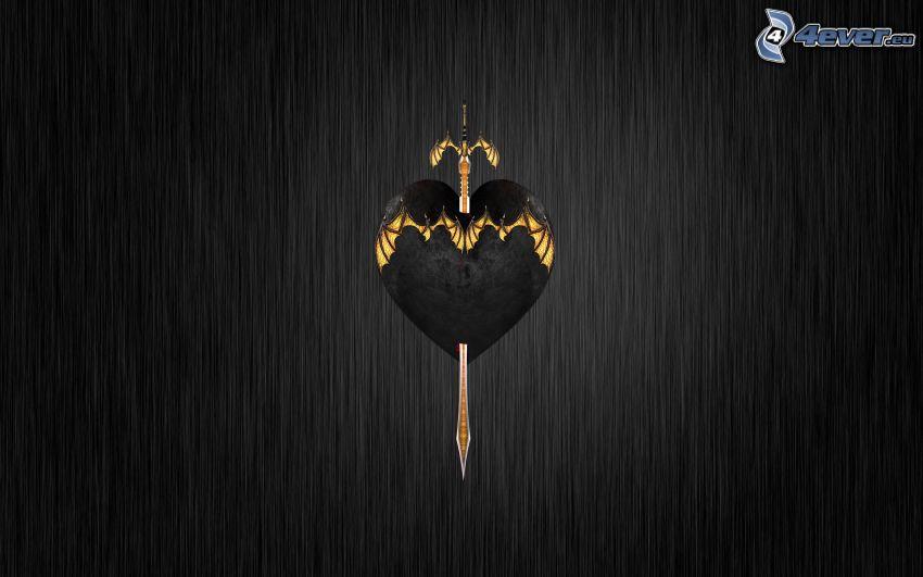 genomborrat hjärta, svärd