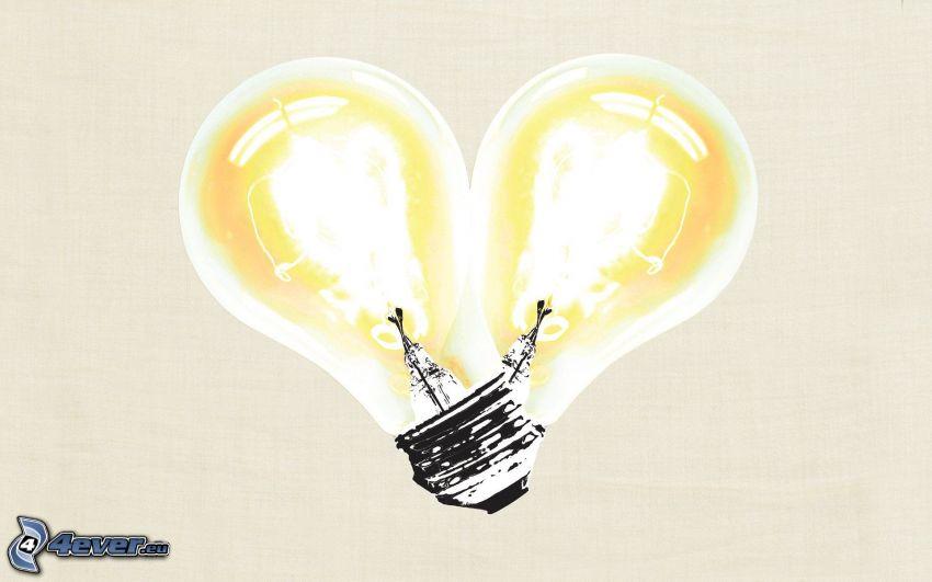 glödlampor, hjärta