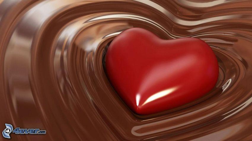 hjärta, choklad