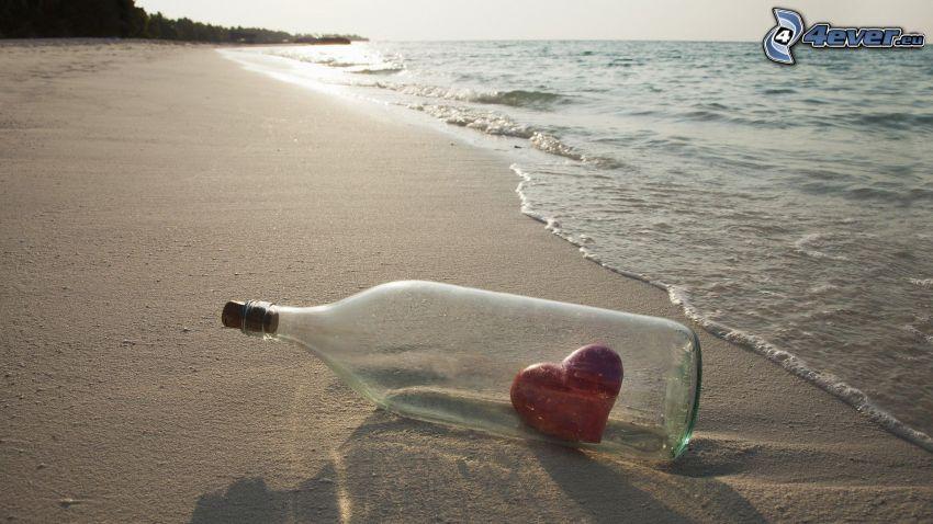 hjärta, flaska, hav, strand