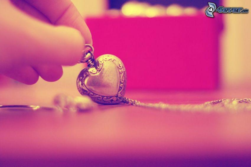 hjärta, hängsmycke, hand
